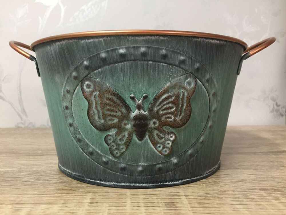 Vintage Butterfly Tin Small Planter 16 cm GREEN